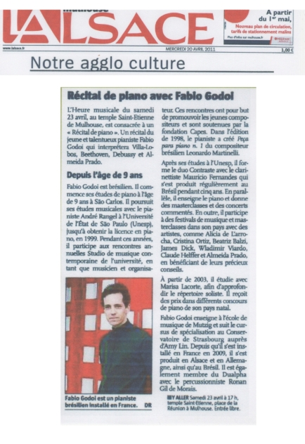 Recital in Mulhouse, France, April 2011 - Newspaper L'Alsace (in French) - watch video excerpt